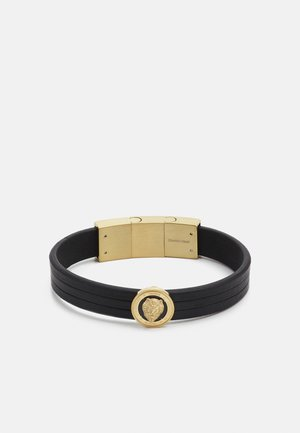 LION COIN LEATHER BRACELET - Pulsera - gold-coloured/black