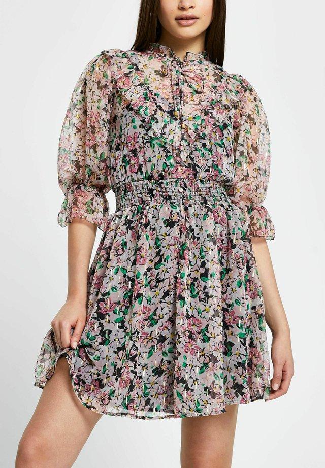 FLORA PUFF SLEEVE MINI  - Korte jurk - pink