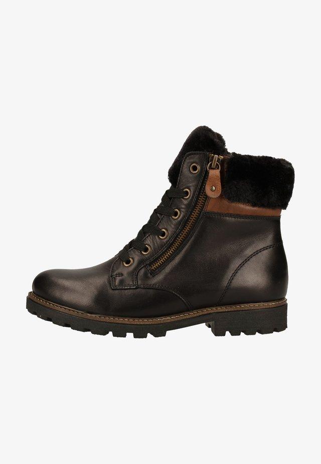 Platform ankle boots - schwarz/chestnut