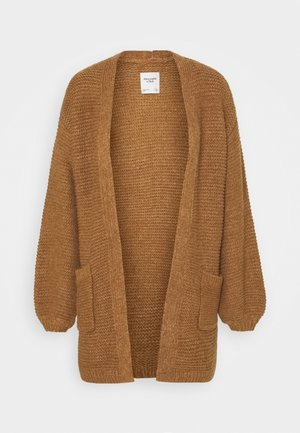CABLE PUFF SLEEVE CARDI - Kardigan - medium brown