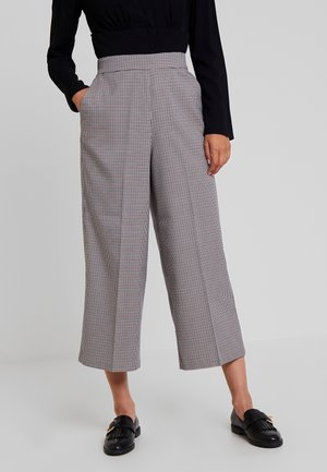 CHECKED CULOTTE PANTS - Kalhoty - beige/brown