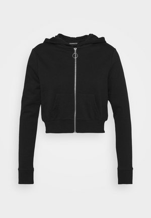 CROPPED SLIM FIT HOODIE  - Collegetakki - black