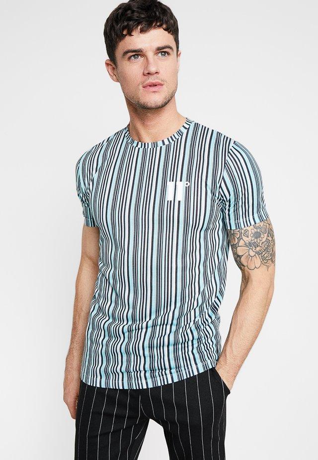 VERTICAL COLOUR - Print T-shirt - aqua/black/cream