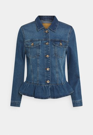 ONLALLY FRILL JACKET - Denim jacket - medium blue denim