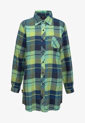 Button-down blouse - blau-kariert