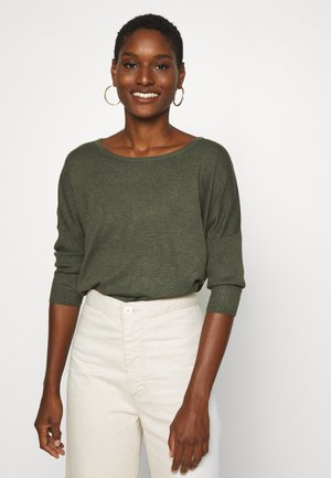 MILA NECK - Strickpullover - army green melange