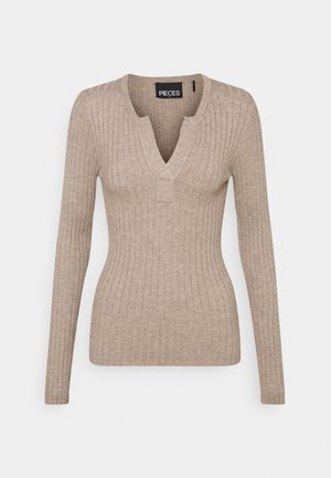 PCGILAYA HALF PLACKET  - Jumper - warm taupe