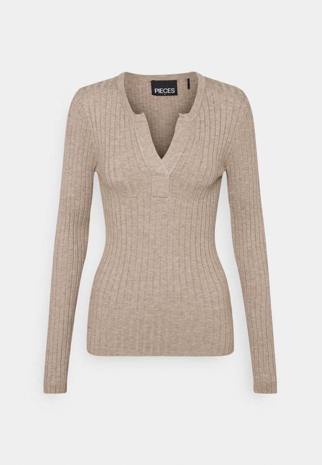 PCGILAYA HALF PLACKET  - Strikkegenser - warm taupe