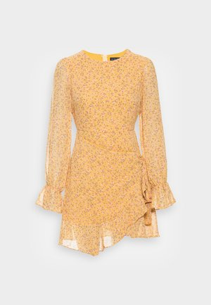JOSSA YELLOW FLORAL PRINT MINI DRESS - Day dress - yellow