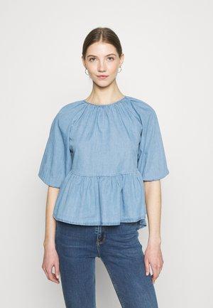 ONLMARY PUFF SLEEVES - Long sleeved top - light blue denim