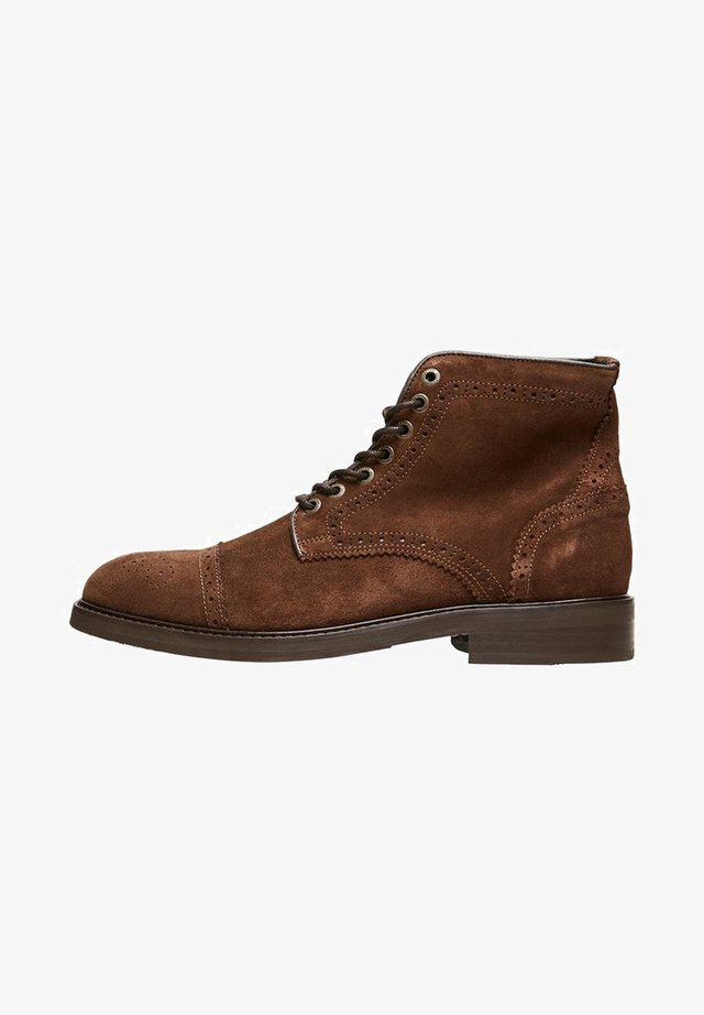Lace-up ankle boots - brown stone