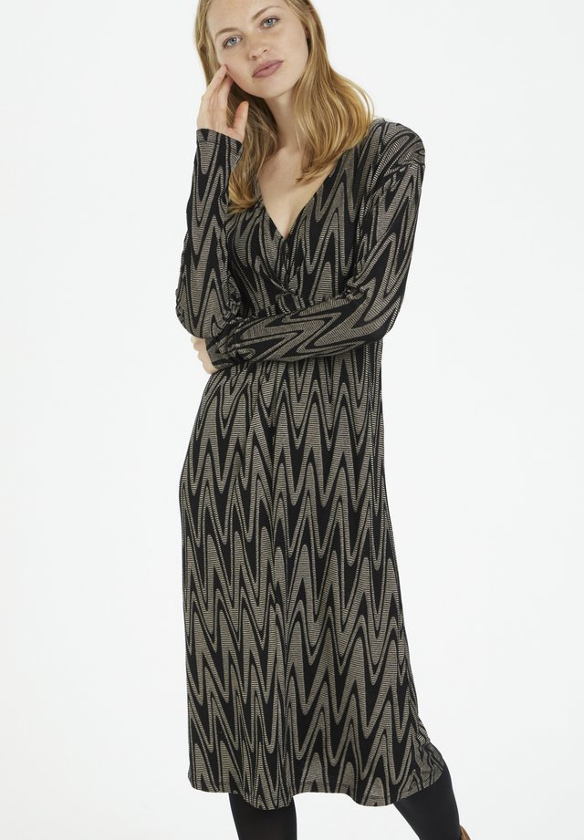 NOLACR - Day dress - taupe zigzag jaquard