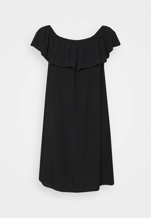 TEXTURED BARDOT BEACH DRESS - Beach accessory - black