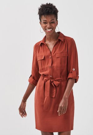 Shirt dress - marron cognac