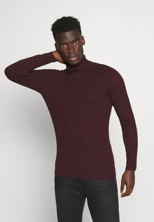 MUSCLE FIT TURTLE - Strickpullover - mottled bordeaux