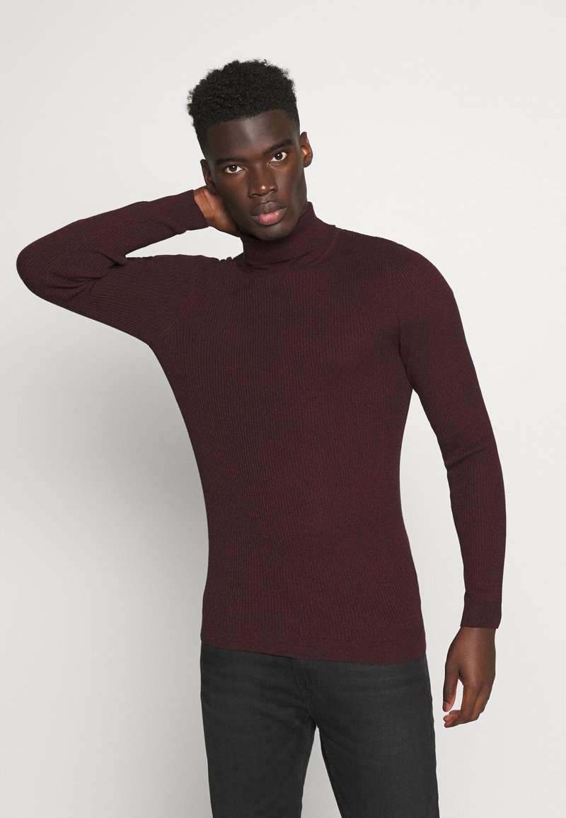 Pier One - MUSCLE FIT TURTLE - Pullover - mottled bordeaux