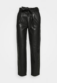 BELTED TROUSER - Pantalones - black