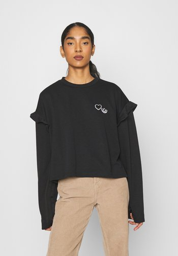 CREW NECK - Long sleeved top - black