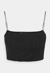 Nly by Nelly - GLITTER CROP TOP - Top - black - 0