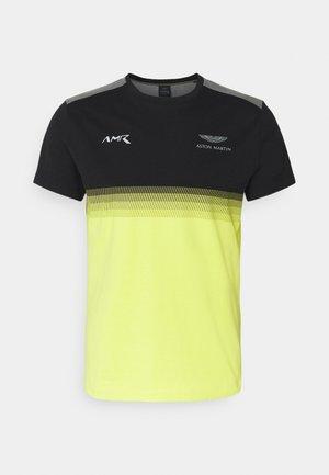 MULTI LINES TEE - Camiseta estampada - black/yellow