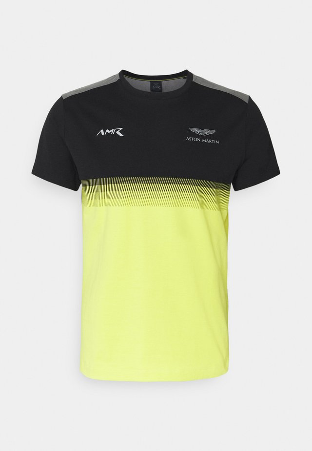 MULTI LINES TEE - T-shirt imprimé - black/yellow