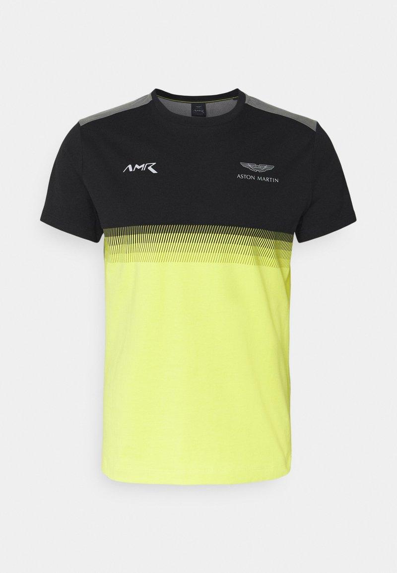 Hackett Aston Martin Racing - MULTI LINES TEE - Camiseta estampada - black/yellow