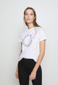 KARL LAGERFELD - CIRCLE LOGO - Print T-shirt - white - 0