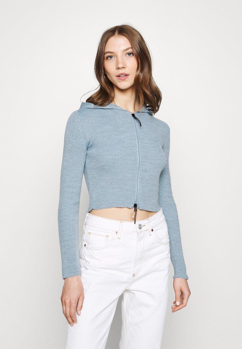 BDG Urban Outfitters - CROPPED ZIP HOODIE - Zip-up sweatshirt - baby blue