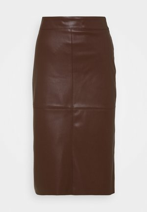 MIDI SKIRT - Pencil skirt - brwon