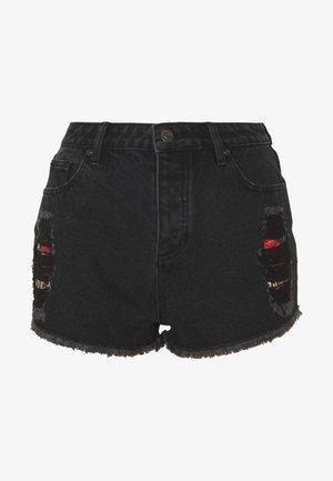 FLORAL ELEGANCE - Jeans Shorts - black denim