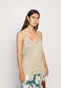 Esprit Collection - FLOW VNECK - Top - khaki beige - 0
