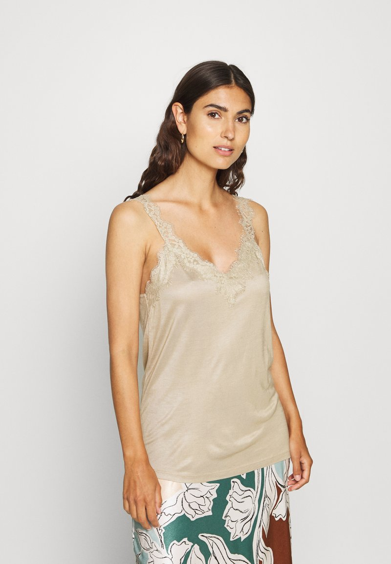Esprit Collection - FLOW VNECK - Top - khaki beige