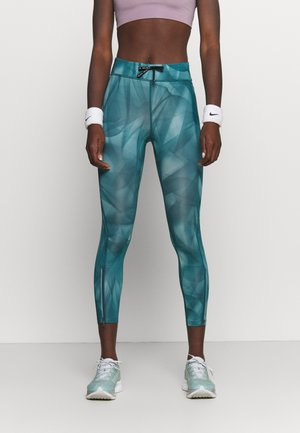 RUN 7/8 - Tights - dark teal green/silver