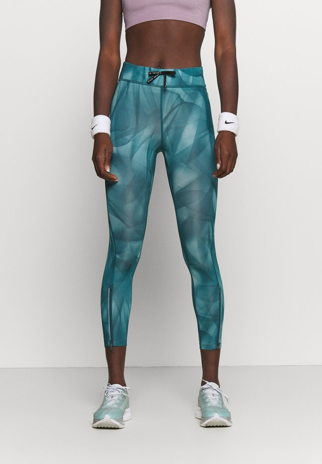 RUN 7/8 - Leggings - dark teal green/silver