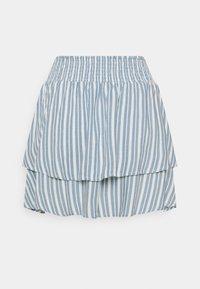 ONLY - ONLAURORA SMOCK LAYERED SKIRT - Minifalda - bright white/faded denim - 6