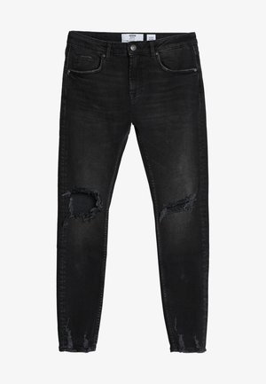 MIT RISSEN - Slim fit jeans - black