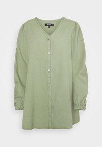 V NECK BUTTON UP DRESS - Denim dress - green