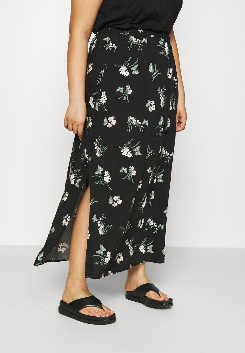 Vero Moda Curve - VMSIMPLY EASY SKIRT - Maxi skirt - black/ann