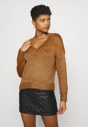 ONLBLINGA V NECK - Jumper - argan oil / shimmer
