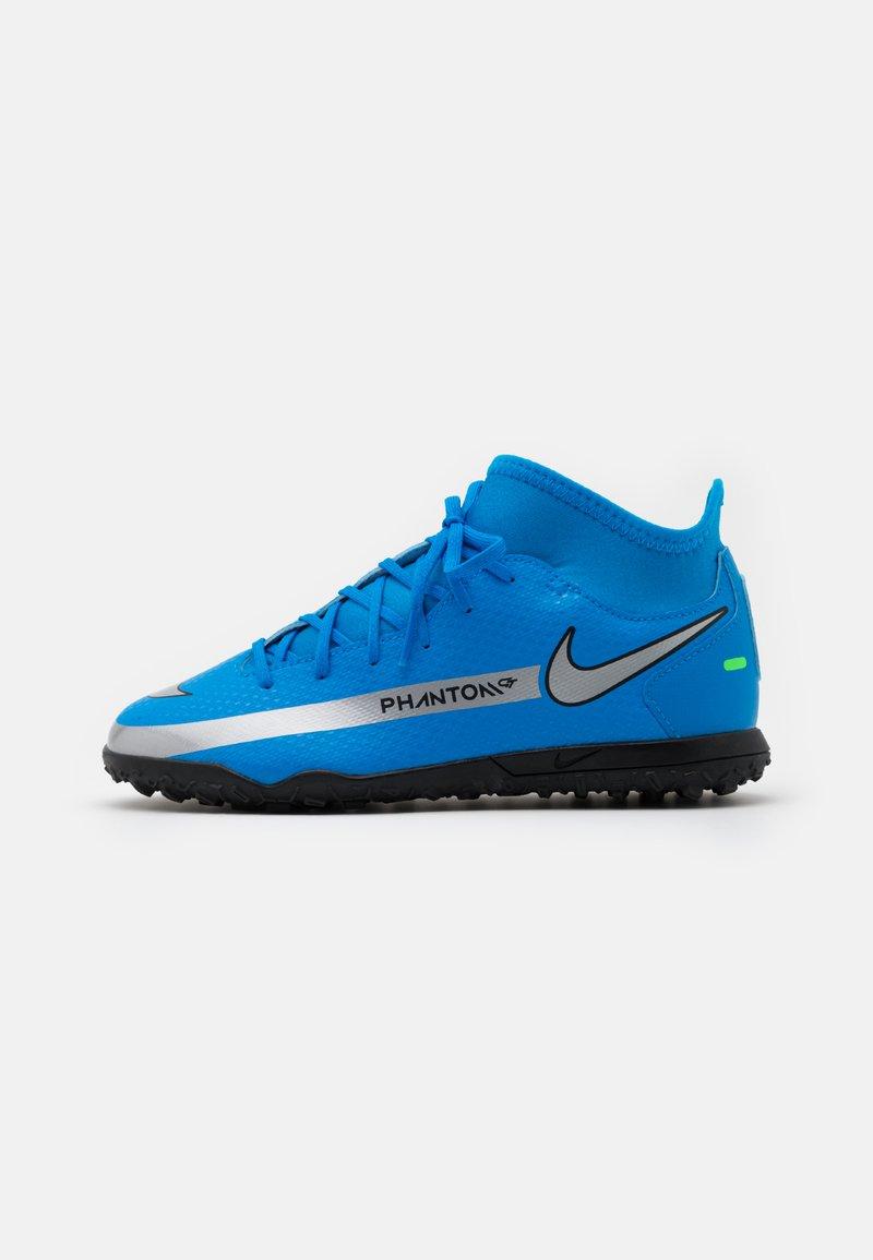 Nike Performance - JR PHANTOM GT CLUB DF TF UNISEX - Astro turf trainers - photo blue/metallic silver/rage green