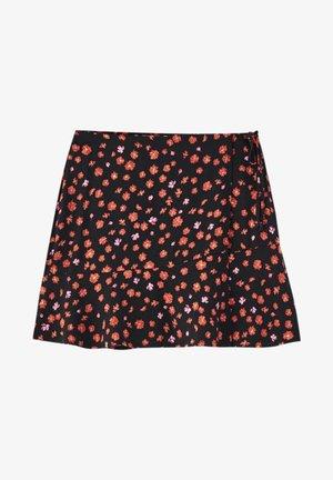 MIT PRINT - A-line skirt - mottled dark red