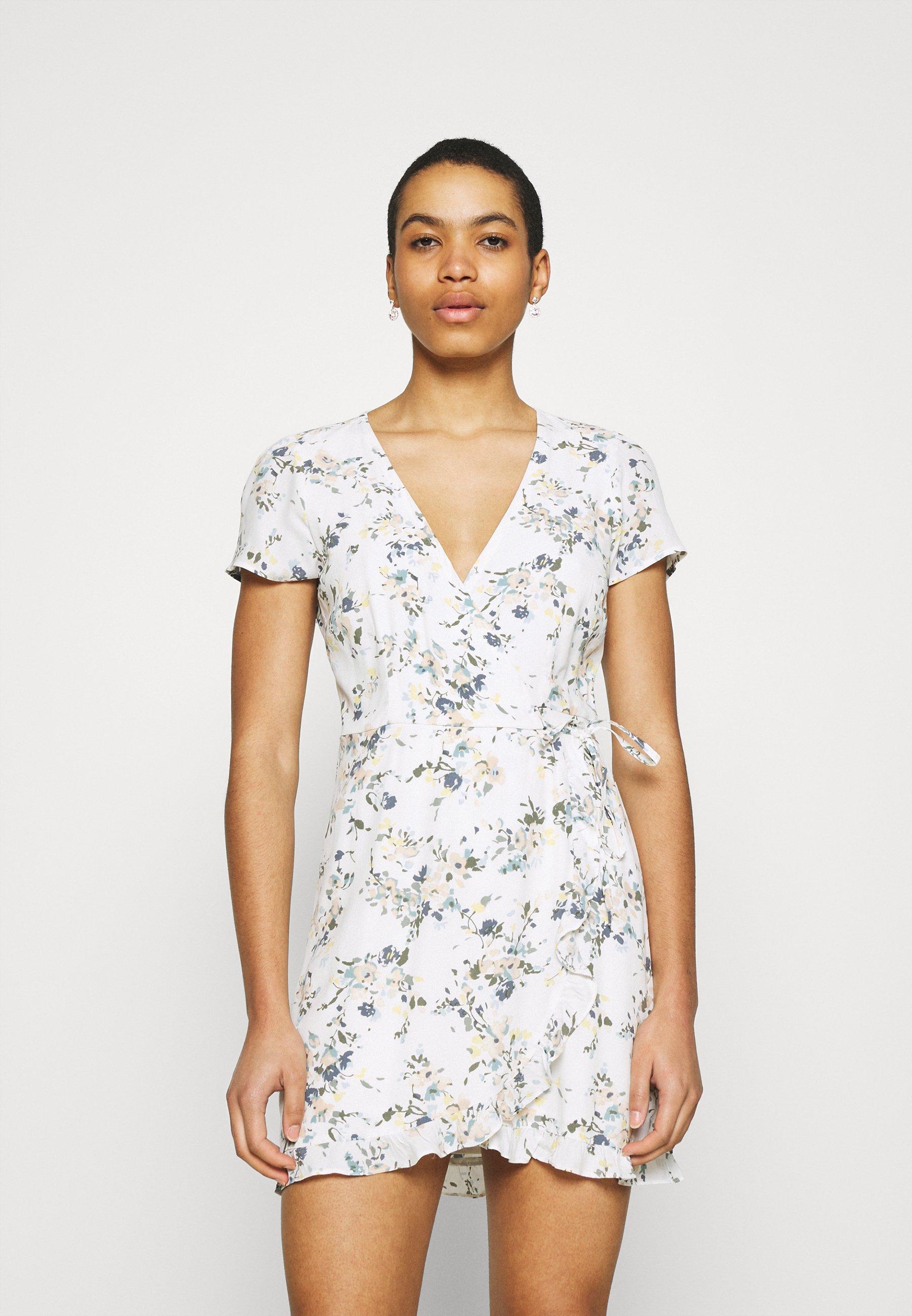 Women RUFFLE WRAP DRESS  - Day dress - white