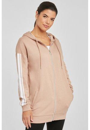 Zip-up hoodie - camelfarben-weiß