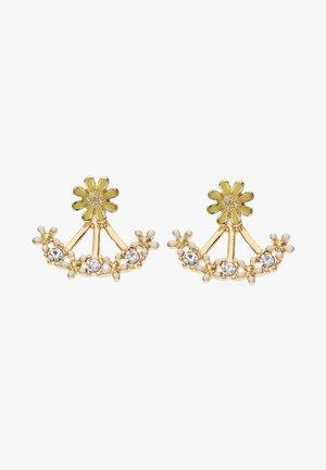FRONT-BACK MIT BLUMEN-MOTIV UND STRASSSTEINEN - Earrings - goldfarben
