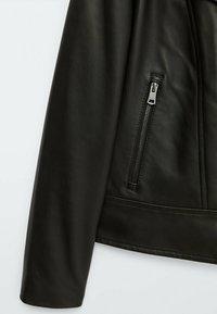 Massimo Dutti - BIKER - Leather jacket - black - 3