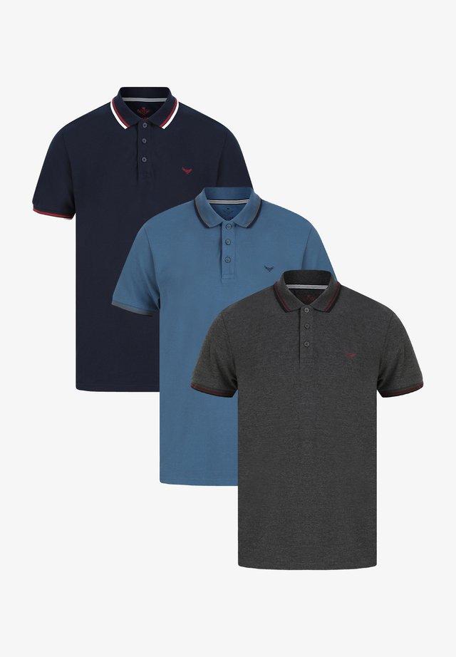 3 PACK - Poloshirt - grey blue