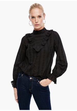 MIT BRODERIE ANGLAISE - Blouse - black