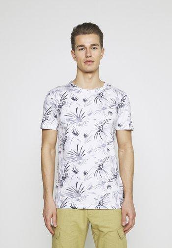 ALLOVER PRINTED - Print T-shirt - white/navy
