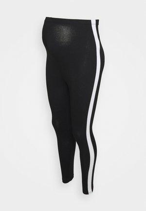 MATERNITY BASIC STRIPE - Leggings - black
