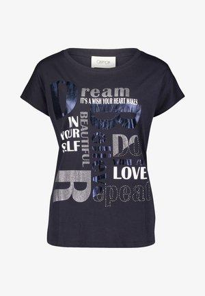 Print T-shirt - dunkelblau/grau